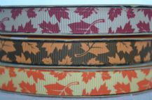 10mm AUTUMN COLOURS ACER LEAVES GROSGRAIN RIBBONS